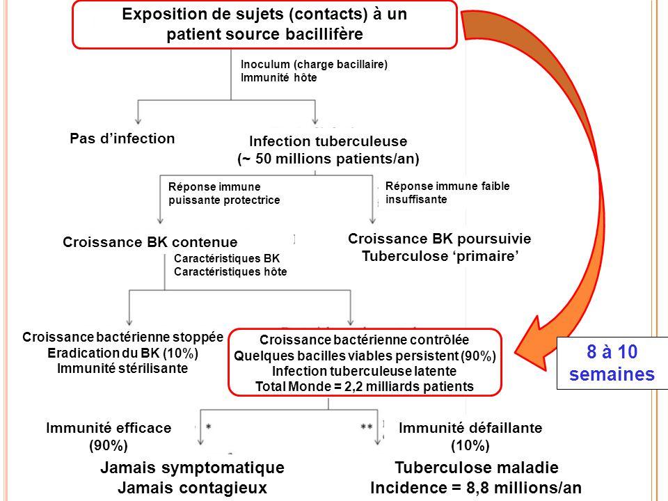 Exposition de sujets (contacts) à un patient source bacillifère Réponse immune puissante protectrice Inoculum (charge bacillaire) Immunité hôte Pas d'