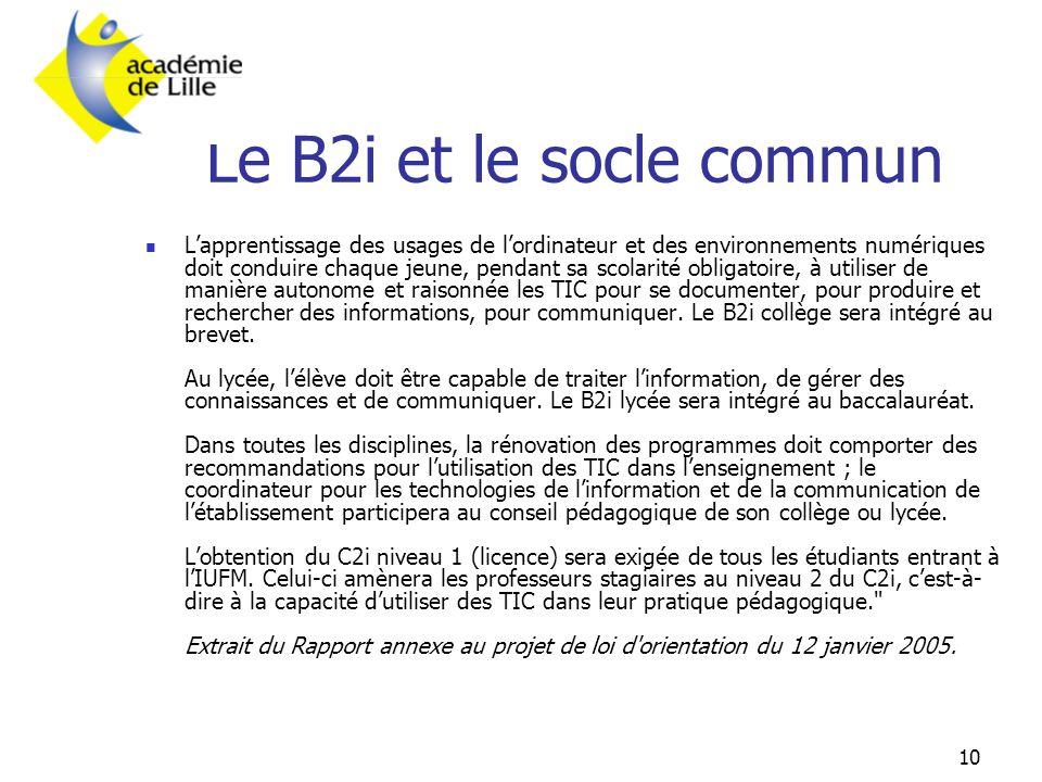 10 Le B2i et le socle commun  L'apprentissage des usages de l'ordinateur et des environnements numériques doit conduire chaque jeune, pendant sa scol