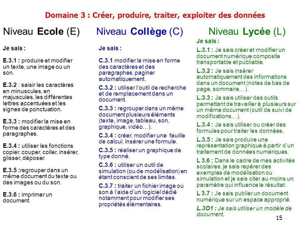 15 Je sais : E.3.1 : produire et modifier un texte, une image ou un son. E.3.2 : saisir les caractères en minuscules, en majuscules, les différentes l