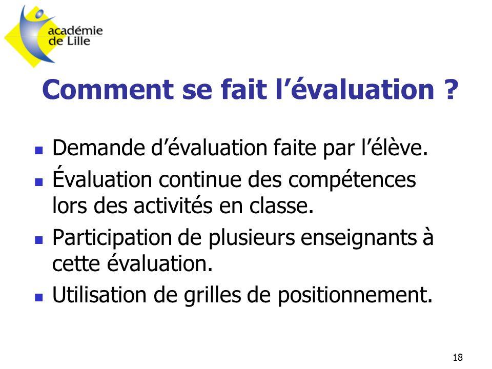 18 Comment se fait l'évaluation ?  Demande d'évaluation faite par l'élève.  Évaluation continue des compétences lors des activités en classe.  Part