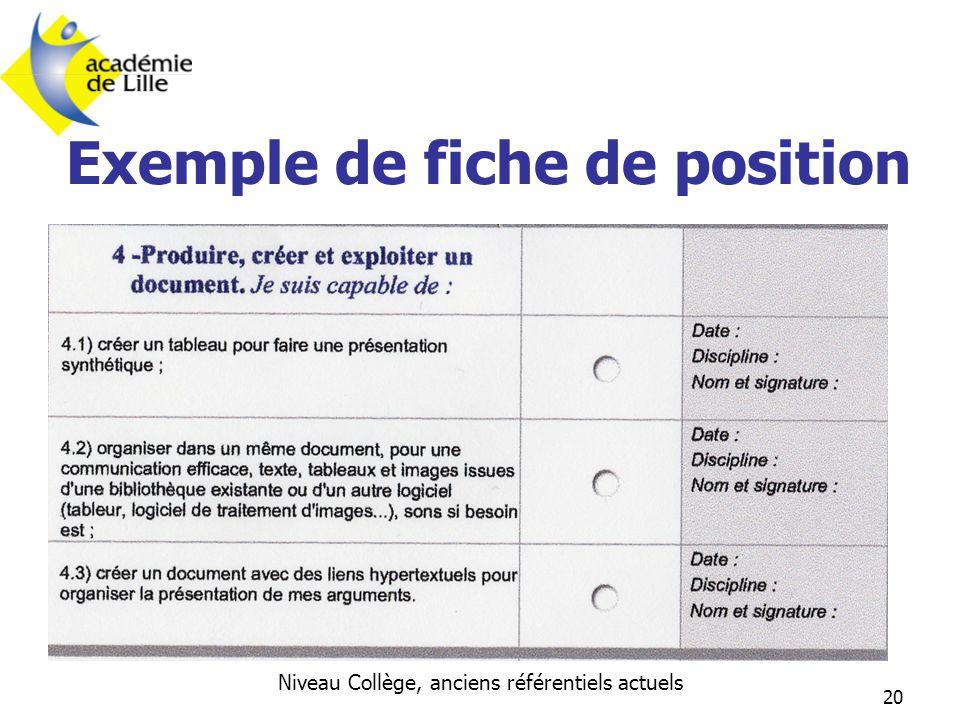20 Exemple de fiche de position Niveau Collège, anciens référentiels actuels