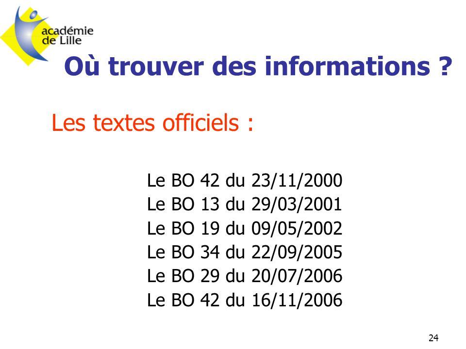 24 Où trouver des informations ? Les textes officiels : Le BO 42 du 23/11/2000 Le BO 13 du 29/03/2001 Le BO 19 du 09/05/2002 Le BO 34 du 22/09/2005 Le