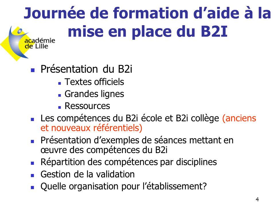 4 Journée de formation d'aide à la mise en place du B2I  Présentation du B2i  Textes officiels  Grandes lignes  Ressources  Les compétences du B2
