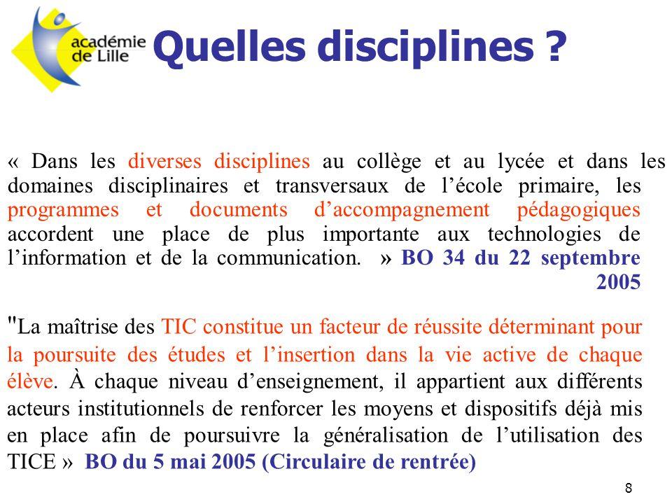 8 Quelles disciplines ? « Dans les diverses disciplines au collège et au lycée et dans les domaines disciplinaires et transversaux de l'école primaire