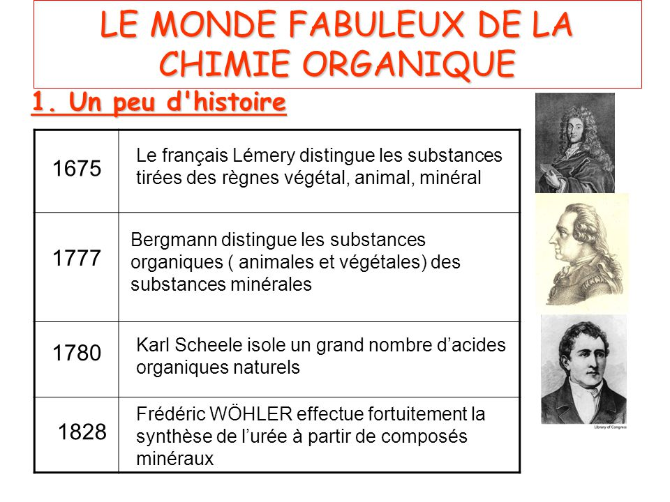 LE MONDE FABULEUX DE LA CHIMIE ORGANIQUE 1.