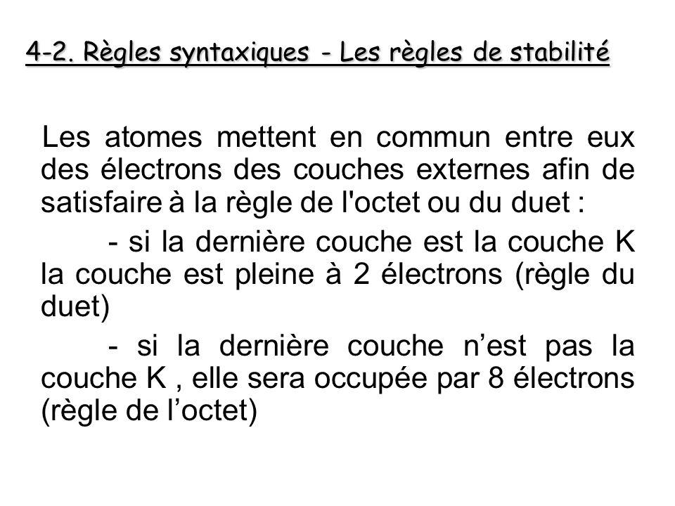 Les atomes mettent en commun entre eux des électrons des couches externes afin de satisfaire à la règle de l octet ou du duet : - si la dernière couche est la couche K la couche est pleine à 2 électrons (règle du duet) - si la dernière couche n'est pas la couche K, elle sera occupée par 8 électrons (règle de l'octet) 4-2.