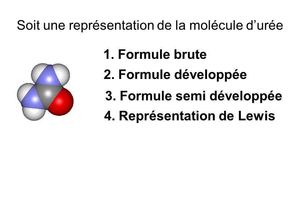 Soit une représentation de la molécule d'urée 1.Formule brute 2.