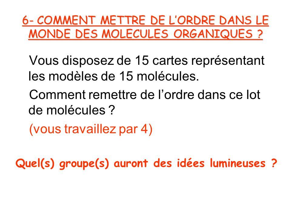 6- COMMENT METTRE DE L'ORDRE DANS LE MONDE DES MOLECULES ORGANIQUES .