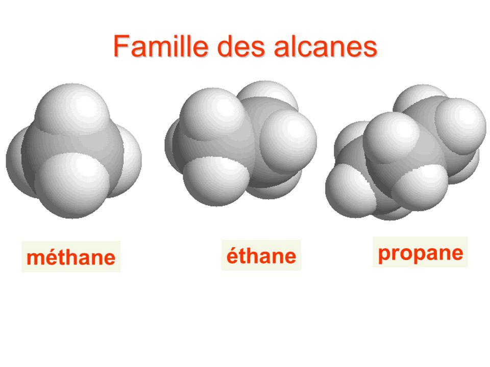 Famille des alcanes méthane propane éthane