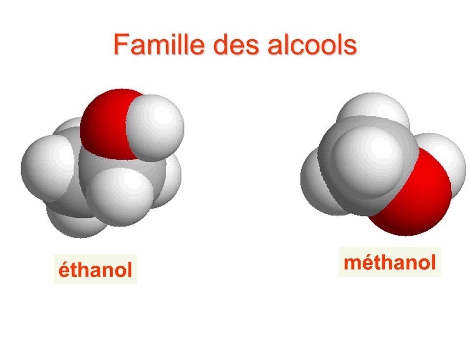 Famille des alcools éthanol méthanol