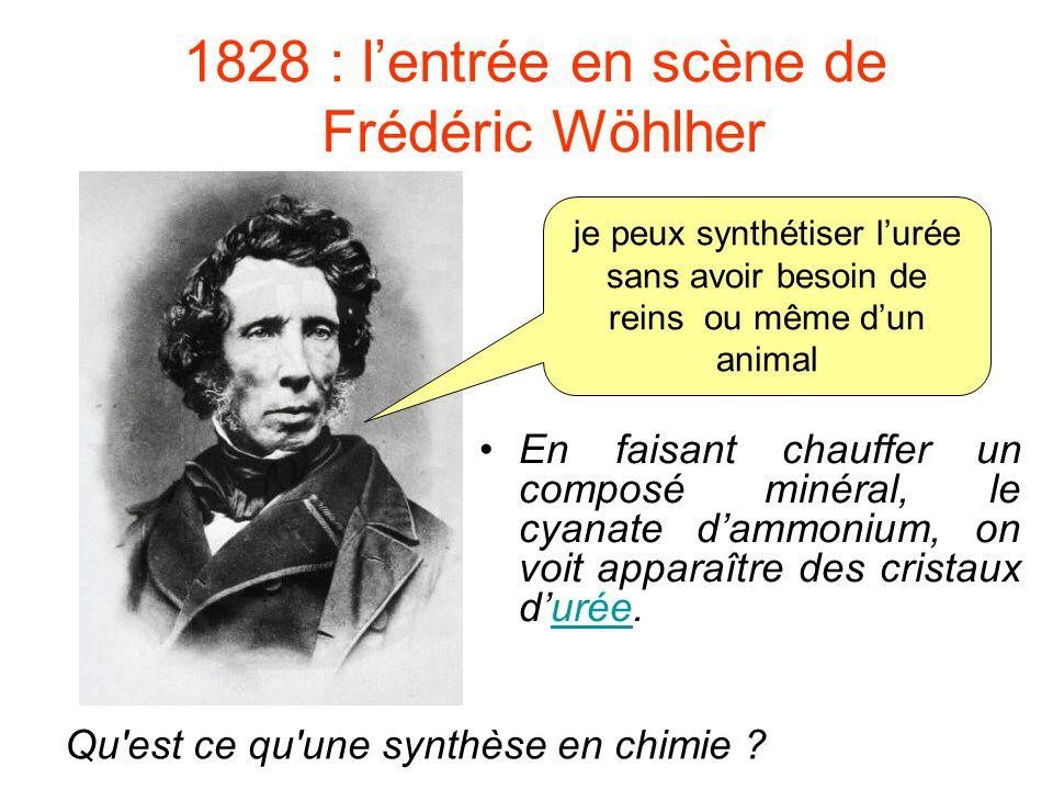 1828 : l'entrée en scène de Frédéric Wöhlher •En faisant chauffer un composé minéral, le cyanate d'ammonium, on voit apparaître des cristaux d'urée.urée je peux synthétiser l'urée sans avoir besoin de reins ou même d'un animal Qu est ce qu une synthèse en chimie ?