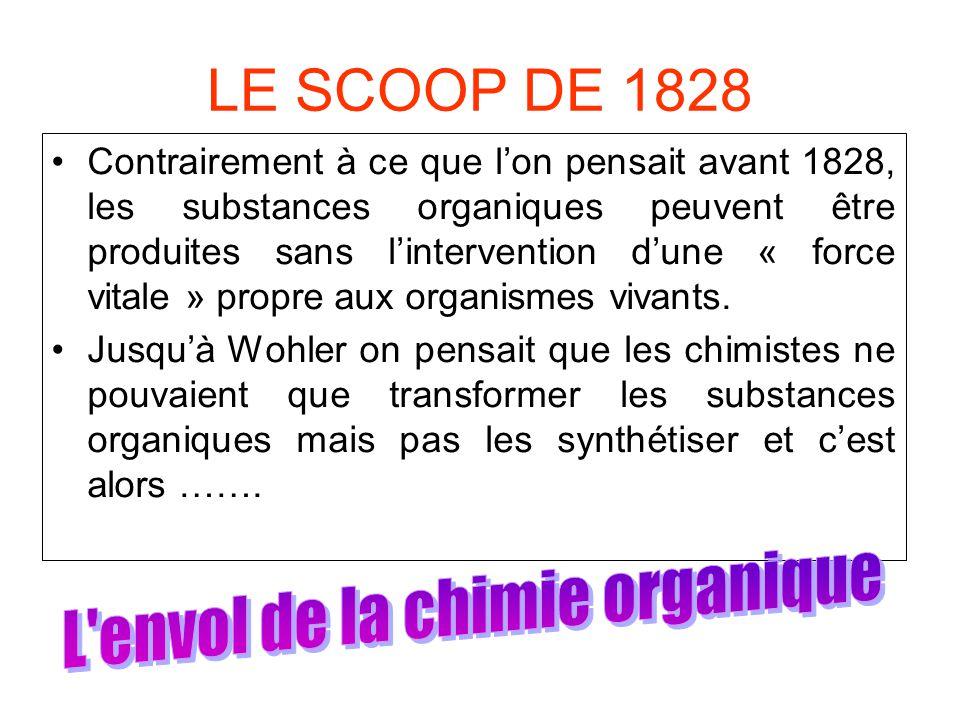 LE SCOOP DE 1828 •Contrairement à ce que l'on pensait avant 1828, les substances organiques peuvent être produites sans l'intervention d'une « force vitale » propre aux organismes vivants.