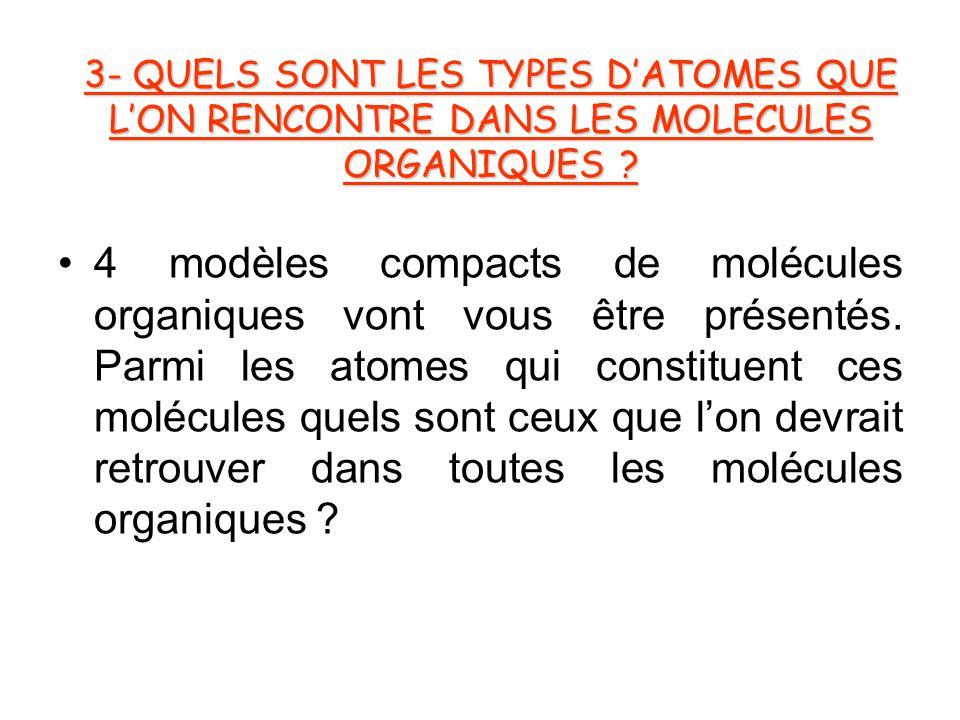 3- QUELS SONT LES TYPES D'ATOMES QUE L'ON RENCONTRE DANS LES MOLECULES ORGANIQUES .