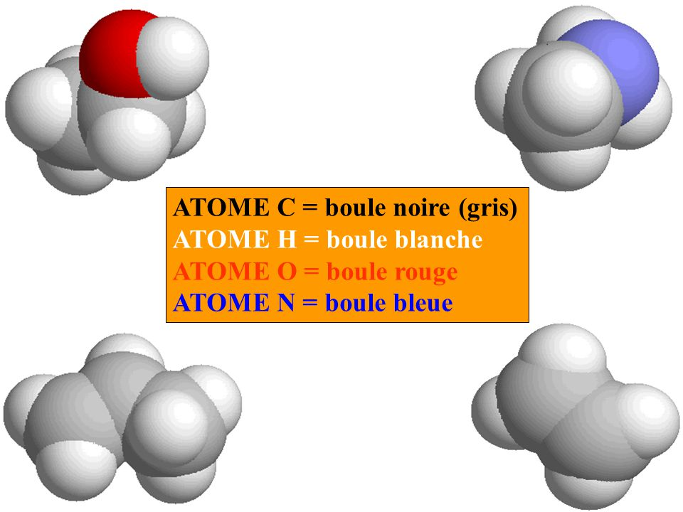 ATOME C = boule noire (gris) ATOME H = boule blanche ATOME O = boule rouge ATOME N = boule bleue