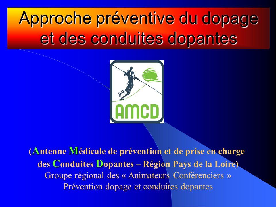 Approche préventive du dopage et des conduites dopantes AM ( A ntenne M édicale de prévention et de prise en charge CD des C onduites D opantes – Régi