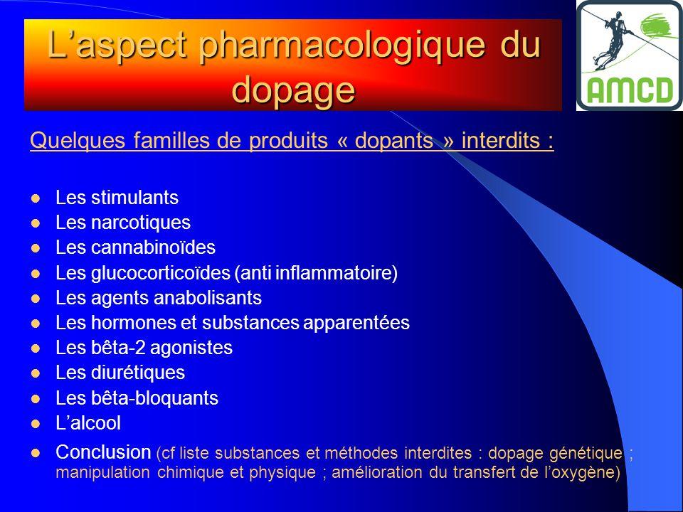 L'aspect pharmacologique du dopage Quelques familles de produits « dopants » interdits :  Les stimulants  Les narcotiques  Les cannabinoïdes  Les
