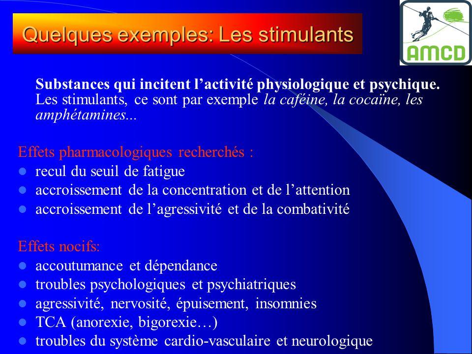 Substances qui incitent l'activité physiologique et psychique. Les stimulants, ce sont par exemple la caféine, la cocaïne, les amphétamines... Effets