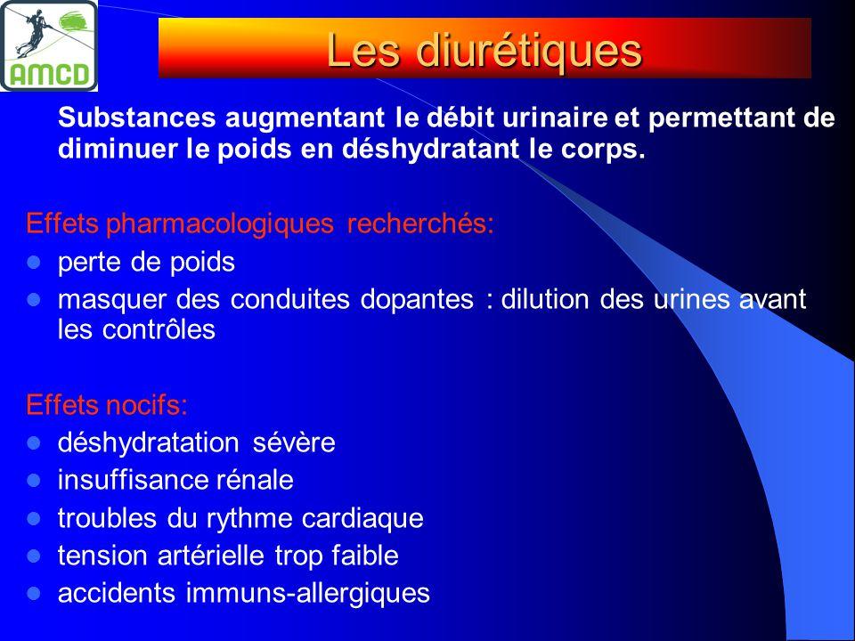 Substances augmentant le débit urinaire et permettant de diminuer le poids en déshydratant le corps. Effets pharmacologiques recherchés:  perte de po
