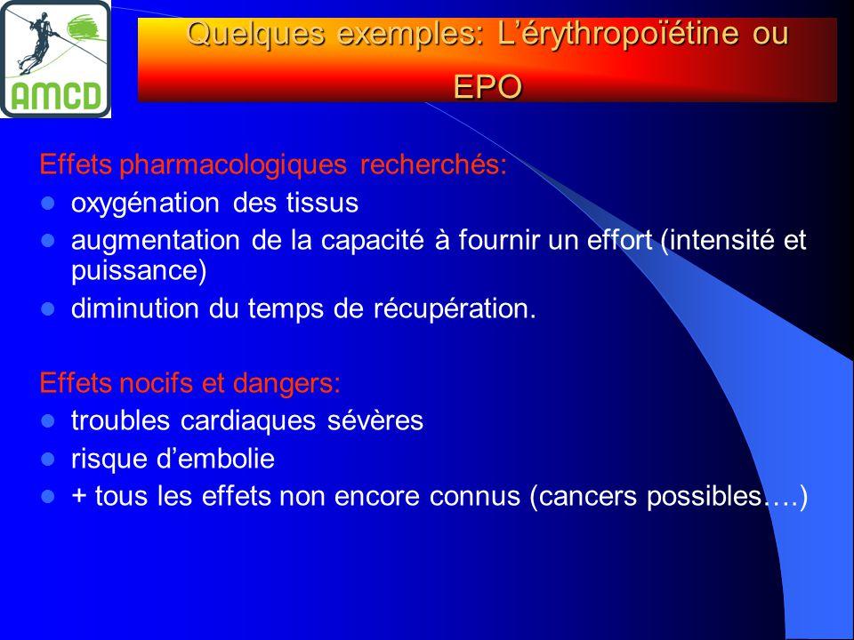 Effets pharmacologiques recherchés:  oxygénation des tissus  augmentation de la capacité à fournir un effort (intensité et puissance)  diminution d