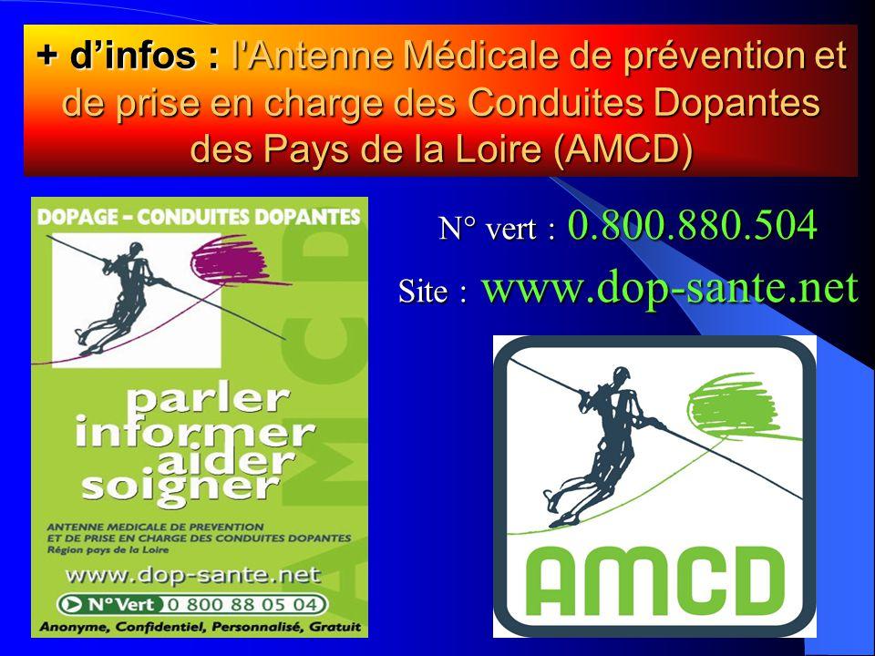 N° vert : 0.800.880.504 Site : www.dop-sante.net + d'infos : l Antenne Médicale de prévention et de prise en charge des Conduites Dopantes des Pays de la Loire (AMCD)