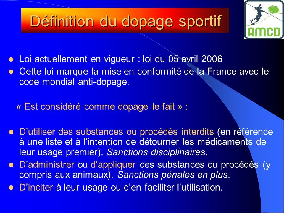 Définition du dopage sportif  Loi actuellement en vigueur : loi du 05 avril 2006  Cette loi marque la mise en conformité de la France avec le code mondial anti-dopage.