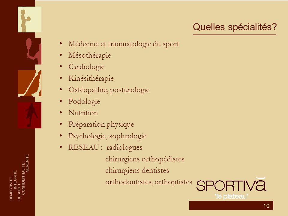 10 Quelles spécialités? •Médecine et traumatologie du sport •Mésothérapie •Cardiologie •Kinésithérapie •Ostéopathie, posturologie •Podologie •Nutritio