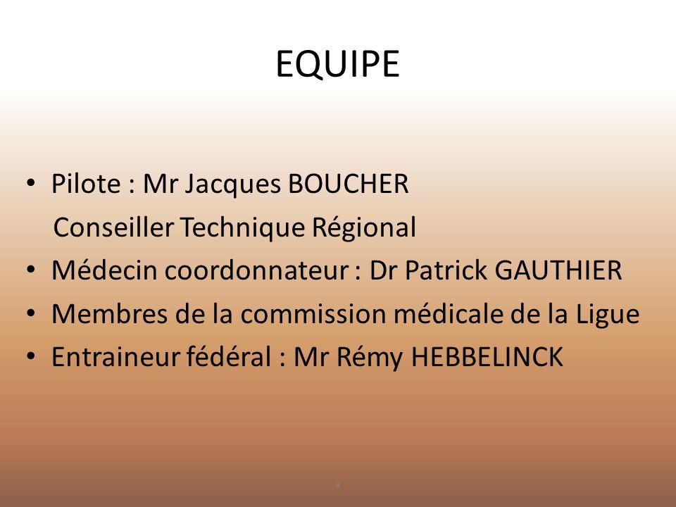 EQUIPE • Pilote : Mr Jacques BOUCHER Conseiller Technique Régional • Médecin coordonnateur : Dr Patrick GAUTHIER • Membres de la commission médicale d