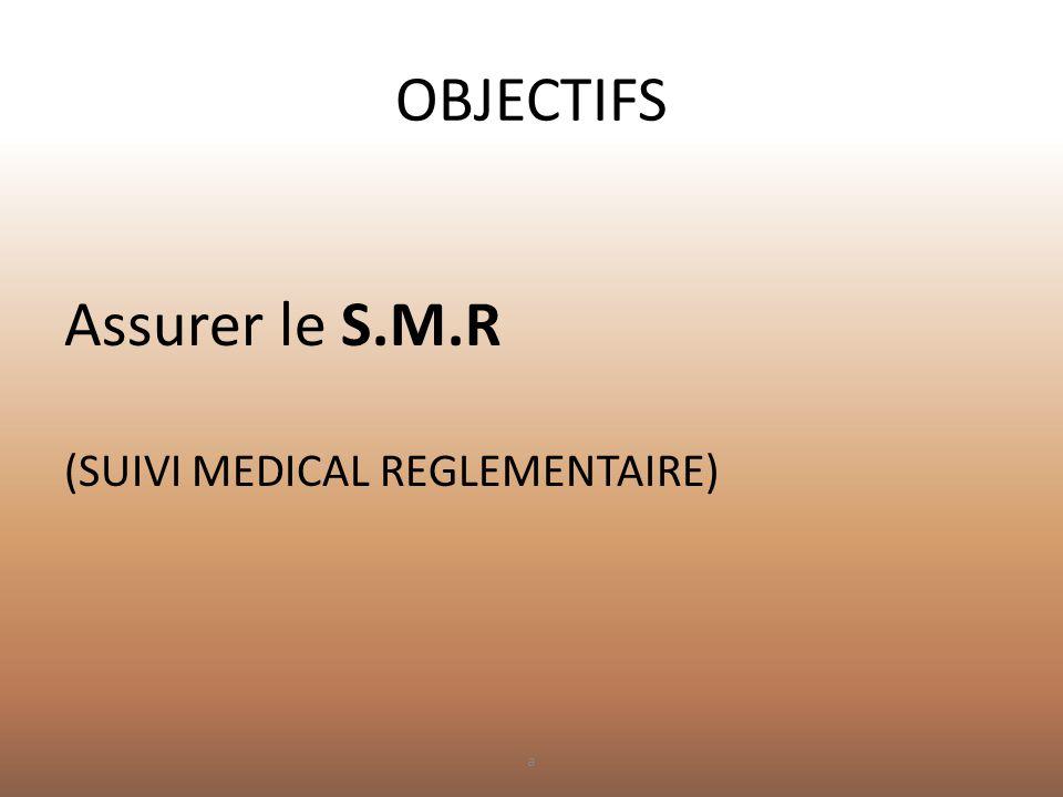 OBJECTIFS Assurer le S.M.R (SUIVI MEDICAL REGLEMENTAIRE) a