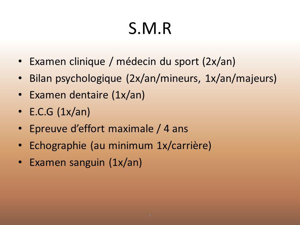 S.M.R • Examen clinique / médecin du sport (2x/an) • Bilan psychologique (2x/an/mineurs, 1x/an/majeurs) • Examen dentaire (1x/an) • E.C.G (1x/an) • Ep