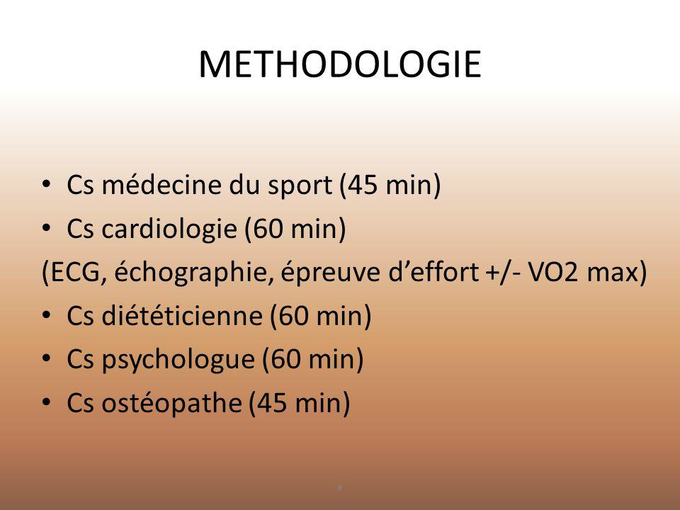 METHODOLOGIE • Cs médecine du sport (45 min) • Cs cardiologie (60 min) (ECG, échographie, épreuve d'effort +/- VO2 max) • Cs diététicienne (60 min) •