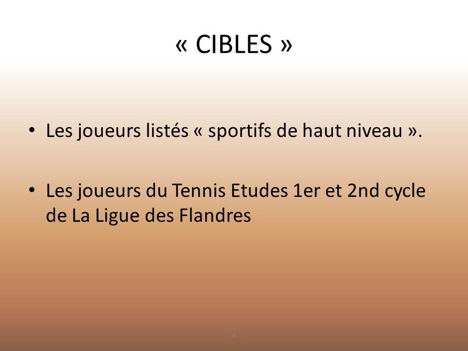 « CIBLES » • Les joueurs listés « sportifs de haut niveau ». • Les joueurs du Tennis Etudes 1er et 2nd cycle de La Ligue des Flandres a