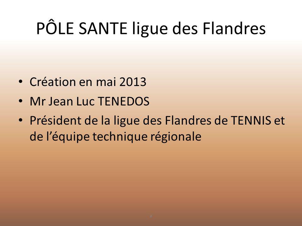 PÔLE SANTE ligue des Flandres • Création en mai 2013 • Mr Jean Luc TENEDOS • Président de la ligue des Flandres de TENNIS et de l'équipe technique rég