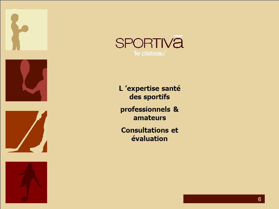 6 L 'expertise santé des sportifs professionnels & amateurs Consultations et évaluation