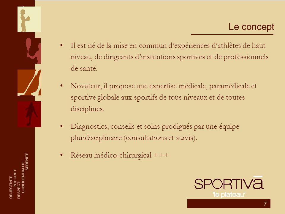 7 Le concept •Il est né de la mise en commun d'expériences d'athlètes de haut niveau, de dirigeants d'institutions sportives et de professionnels de s