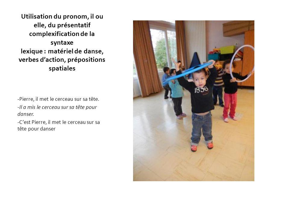 Utilisation du pronom, il ou elle, du présentatif complexification de la syntaxe lexique : matériel de danse, verbes d'action, prépositions spatiales -Pierre, il met le cerceau sur sa tête.