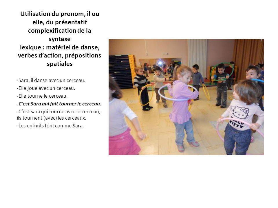 Utilisation du pronom, il ou elle, du présentatif complexification de la syntaxe lexique : matériel de danse, verbes d'action, prépositions spatiales -Sara, il danse avec un cerceau.