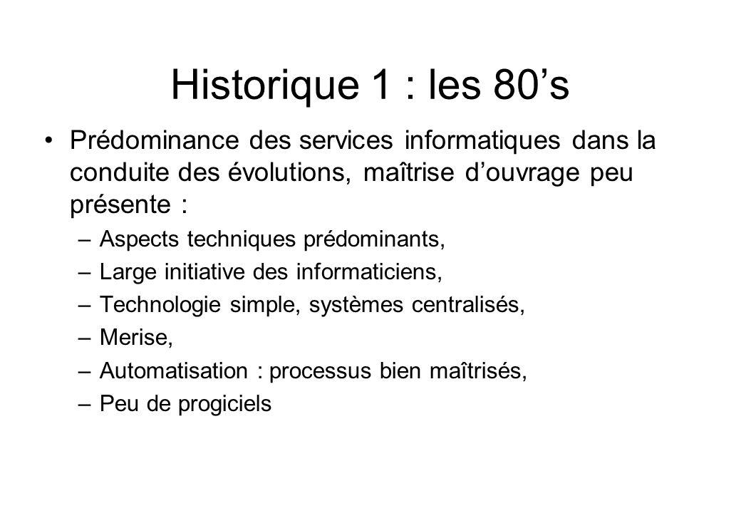Historique 1 : les 80's •Prédominance des services informatiques dans la conduite des évolutions, maîtrise d'ouvrage peu présente : –Aspects technique