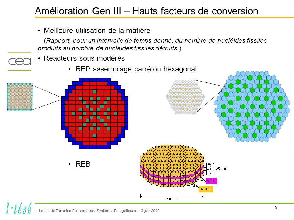 6 Institut de Technico-Economie des Systèmes Energétiques – 3 juin 2009 Amélioration Gen III – Hauts facteurs de conversion •Meilleure utilisation de la matière (Rapport, pour un intervalle de temps donné, du nombre de nucléides fissiles produits au nombre de nucléides fissiles détruits.) •Réacteurs sous modérés •REP assemblage carré ou hexagonal •REB
