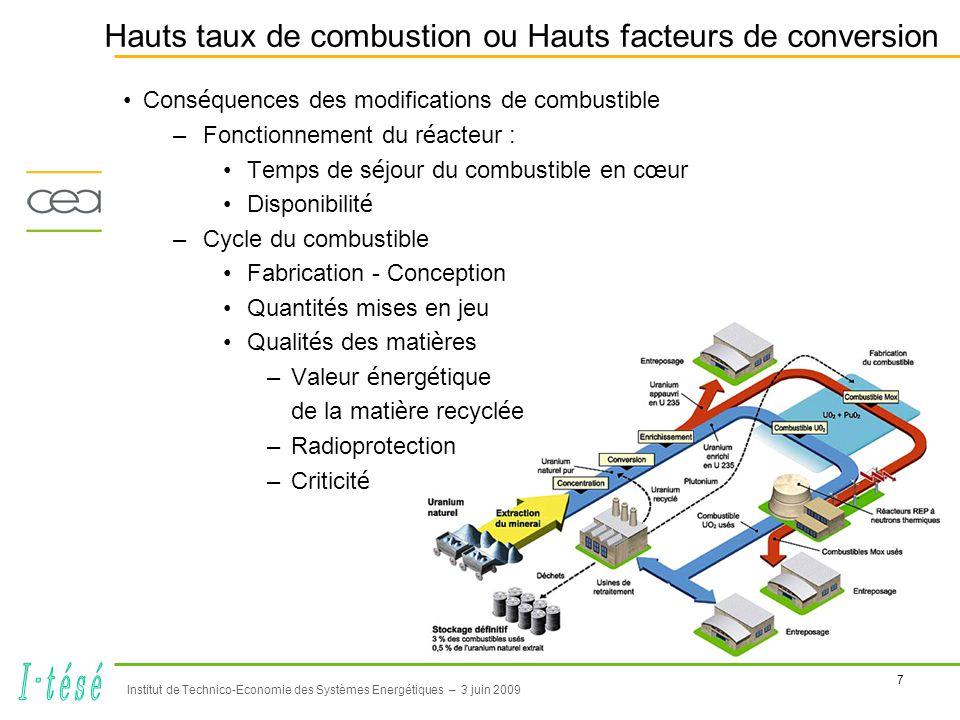 8 Institut de Technico-Economie des Systèmes Energétiques – 3 juin 2009 Coexistence de Gen III et Gen IV •France : Gestion durable des matières et déchets radioactifs (loi du 28 juin 2006) –Evolution du parc électronucléaire avec arrivée des réacteurs Gen IV –Nucléaire plus durable Source : EDF, ENC 2002 Parc actuel 19752000202520502075 Gen IV EPR U (U app, URT) Pu (recyclage en MOX) A.M.