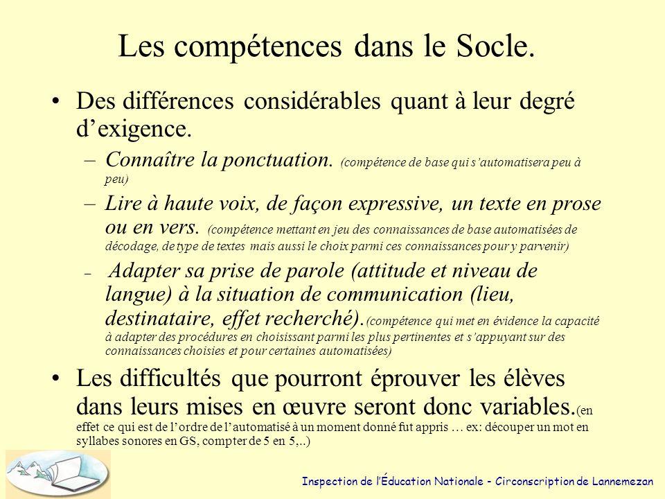 • Parenté entre compétences et socio- constructivisme: –Plusieurs procédures pour accomplir une tâche. –Des situations problèmes. –La complexité de la