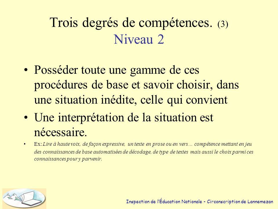 Trois degrés de compétences. (2) Niveau 1 •Savoir exécuter une opération (ou une suite prédéterminée d'opérations) en réponse à un signal (qui peut êt