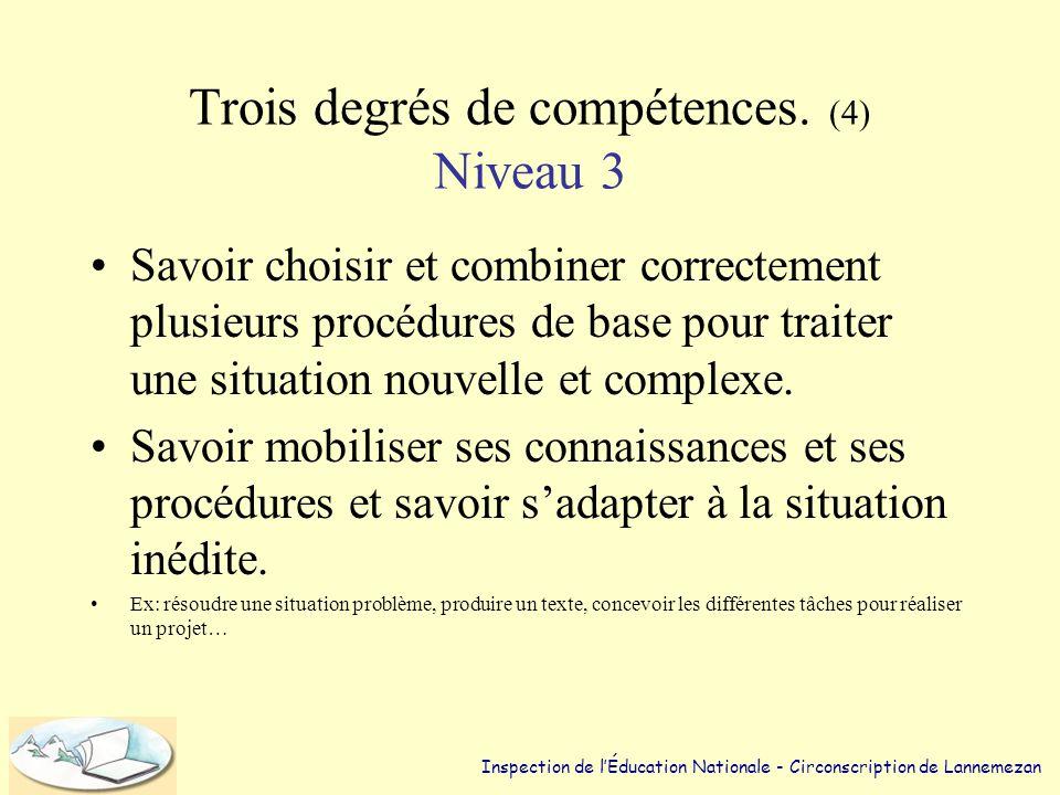 Trois degrés de compétences. (3) Niveau 2 •Posséder toute une gamme de ces procédures de base et savoir choisir, dans une situation inédite, celle qui