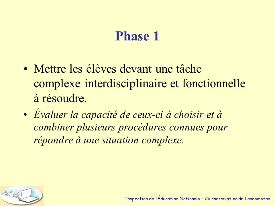 Trois phases •Demander aux élèves d'accomplir: – une tâche complexe et inédite – une tâche complexe décomposée. – une tâche complexe décomposée avec p