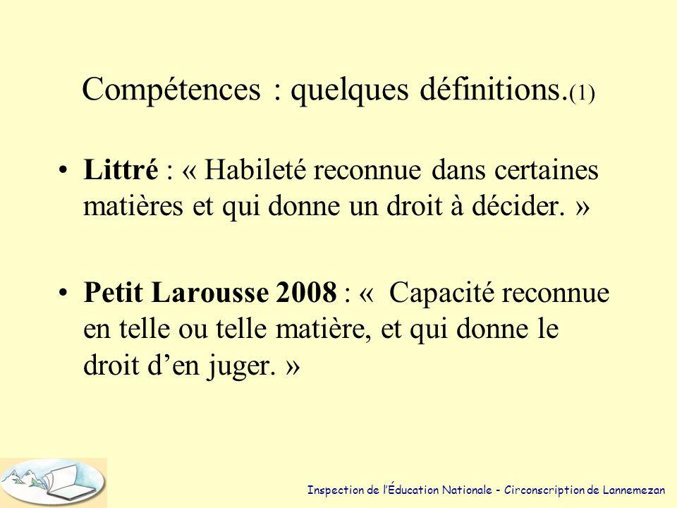 Évaluer les compétences. d'après : - Le Socle commun - Les travaux de V Carette et B Rey - Les travaux de G de Vecchi Inspection de l'Éducation Nation