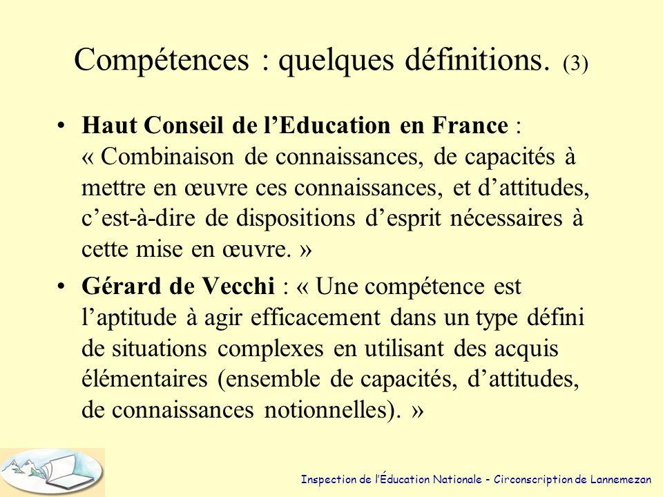 Compétences : quelques définitions. (2) •Philippe Meirieu : « Savoirs renvoyant à des situations complexes qui amènent à gérer des variables hétérogèn