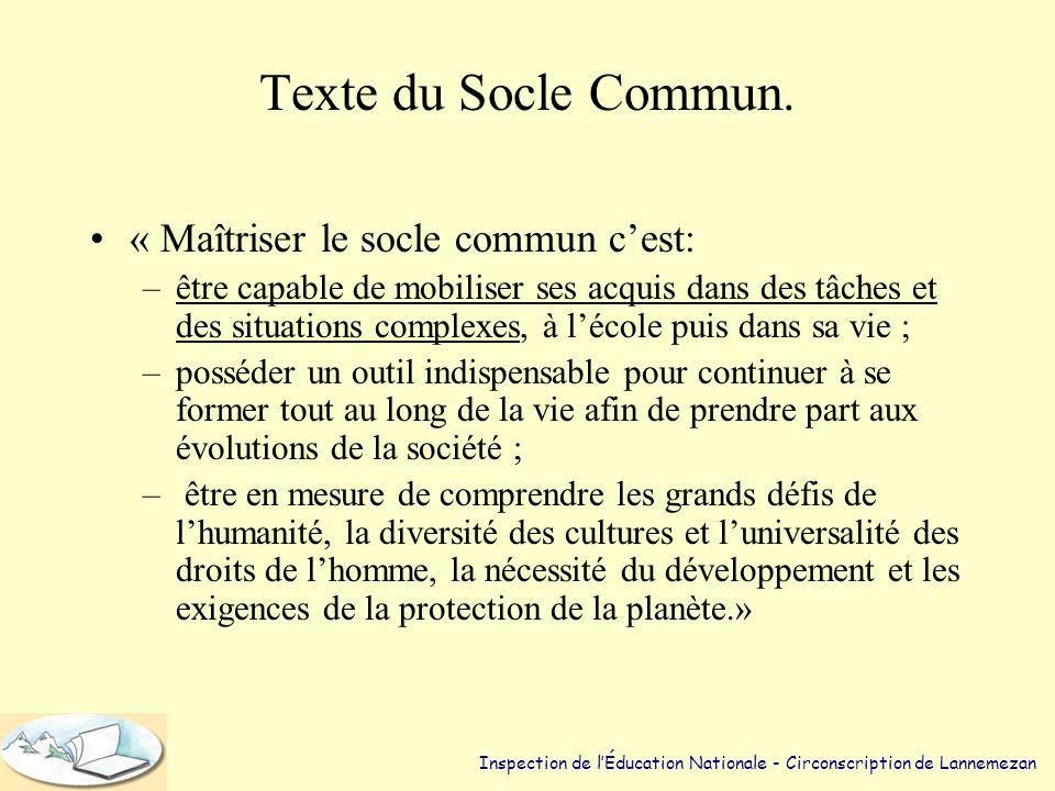 Texte du Socle Commun.