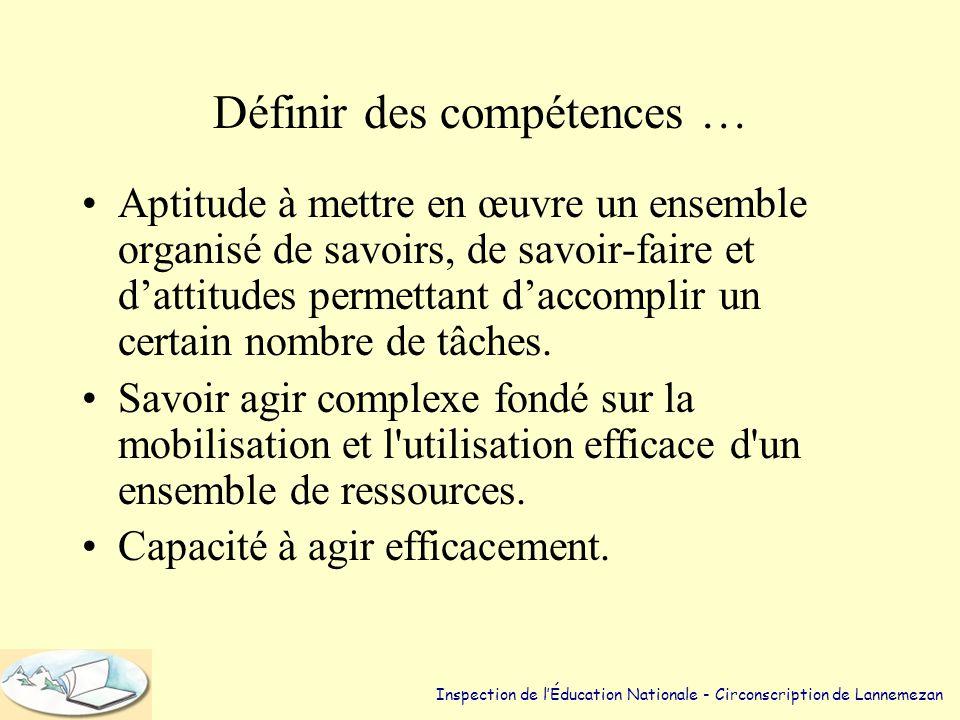 Définir des compétences … •Aptitude à mettre en œuvre un ensemble organisé de savoirs, de savoir-faire et d'attitudes permettant d'accomplir un certain nombre de tâches.