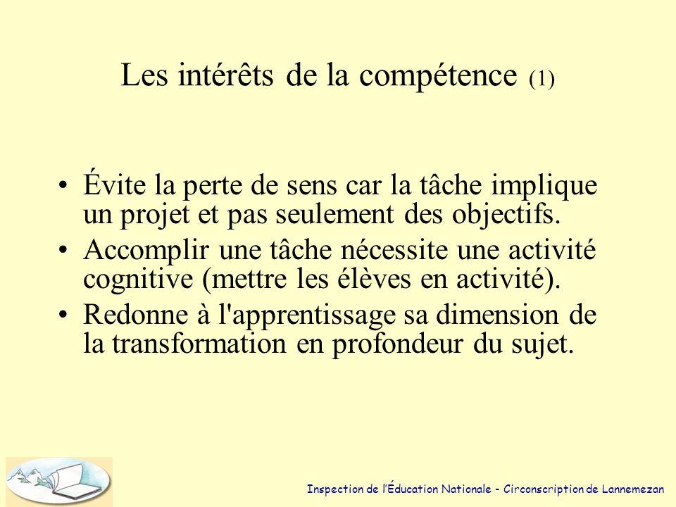 Les intérêts de la compétence (1) •Évite la perte de sens car la tâche implique un projet et pas seulement des objectifs.