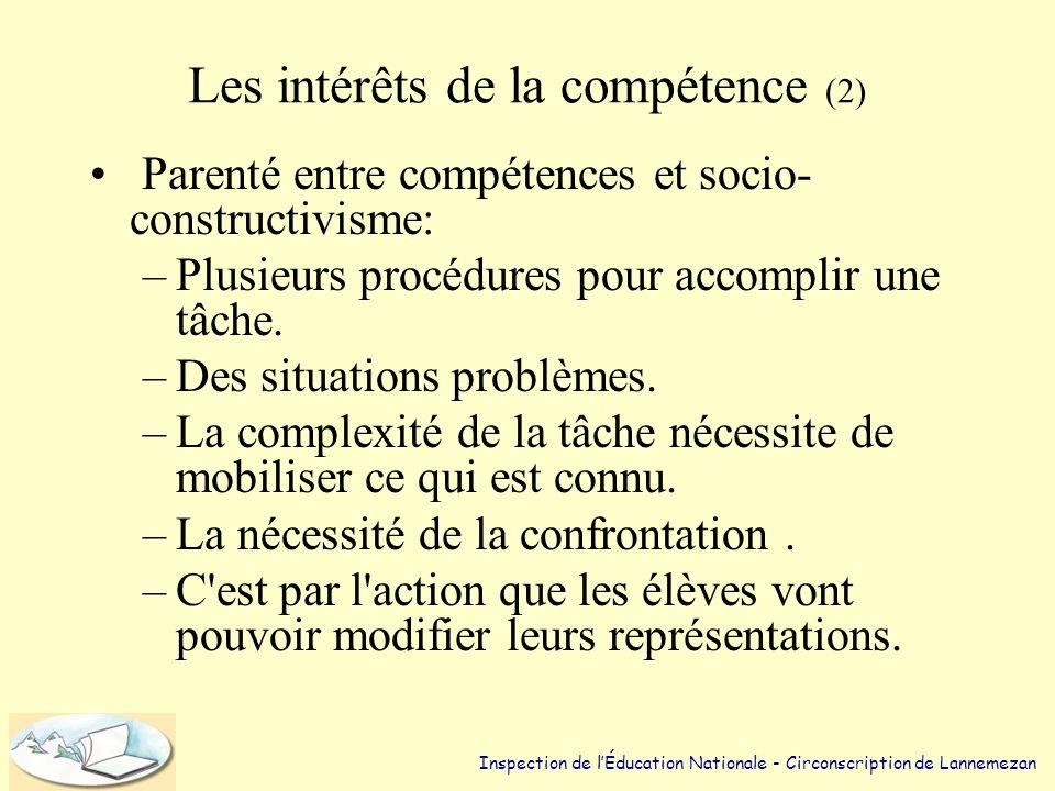 Les intérêts de la compétence (1) •Évite la perte de sens car la tâche implique un projet et pas seulement des objectifs. •Accomplir une tâche nécessi