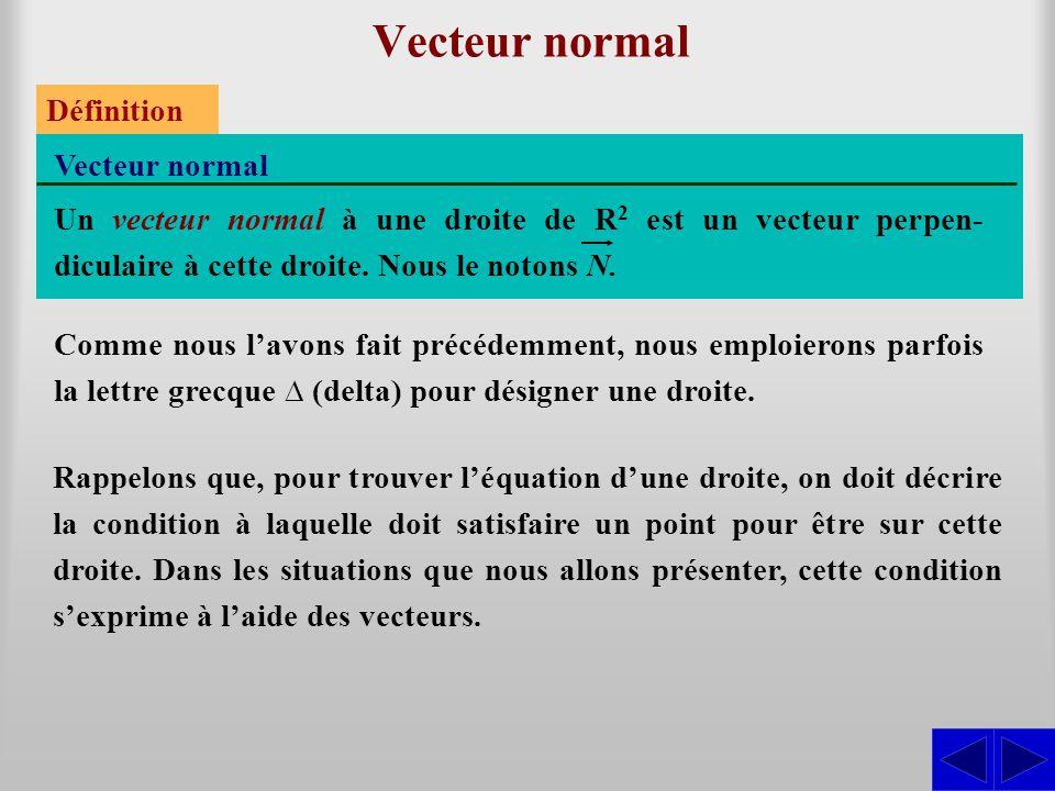 Vecteur normal Définition Un vecteur normal à une droite de R 2 est un vecteur perpen- diculaire à cette droite.